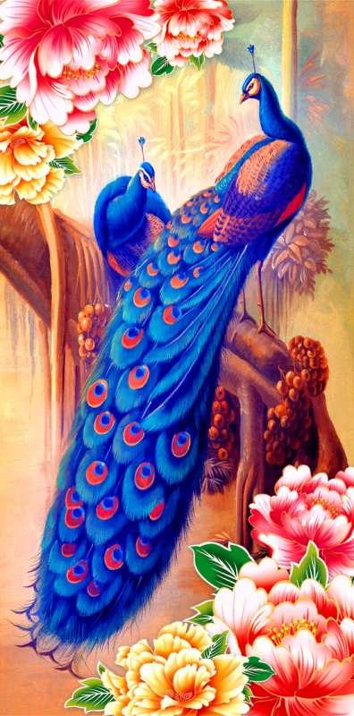 Картина по номерам 40x50 Бриллиантовые павлины