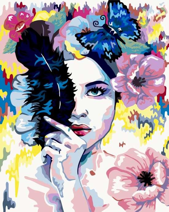 Картина по номерам 40x50 Лицо девушки в цветах